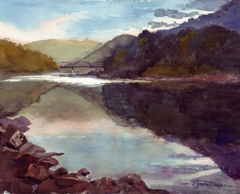 Lynda Rimke New River watercolor landscape Prince, WV