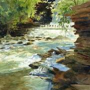 cuyahoga falls gorge dam watercolor landscape