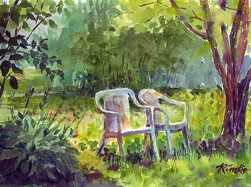 back yard summer watercolor landscape