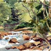 Yellow Creek watercolor landscape