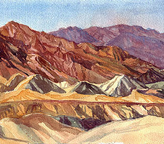 death valley watercolor landscape