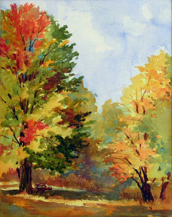 lynda rimke fall watercolor landscape