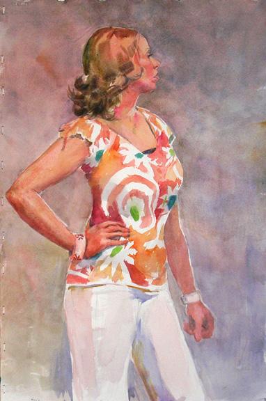 Viva Italia watercolor portrait painting